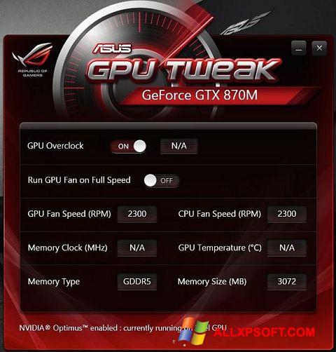 Screenshot ASUS GPU Tweak Windows XP