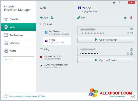 Screenshot Kaspersky Password Manager Windows XP