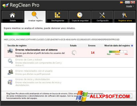 Screenshot RegClean Pro Windows XP