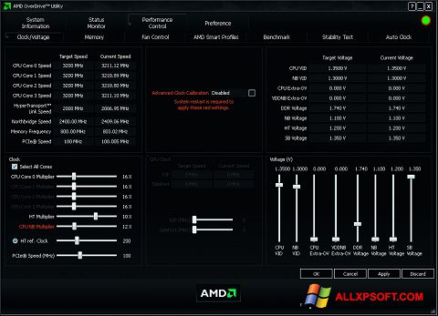 Screenshot AMD Overdrive Windows XP