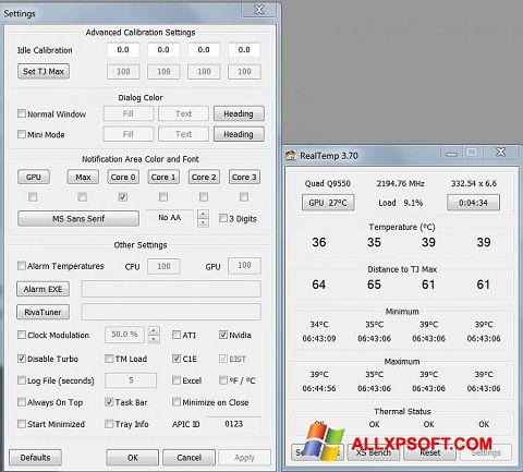 Screenshot Real Temp Windows XP