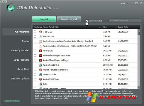Screenshot IObit Uninstaller Windows XP